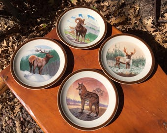 National Wildlife Federation Plates-Wildlife Federation Salad Plates-Dessert Plates-Elk Plate- Big Horn Sheep Plate-Caribou Plate-Wolf Plate