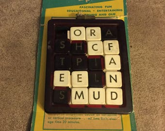 Extremely Rare Toy/ The Harrison Co. Word Puzzle/ Sliding Puzzle Game/ Vintage Word Game/ 1960's Puzzle/ 19 Piece Word Slide Puzzle
