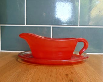 Vintage Red Glass Sauce Boat C.1950s