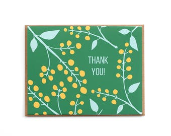 Thank you Card, Green Scandinavian floral thank you Card, Blank card, Green Card, Yellow and green floral card, Hand drawn card