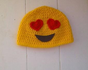 Emoji hat, Love emoji, love emoji crochet hat, baby, toddler, childs hat, emoji crochet beanie, halloween costume, halloween hat, infant