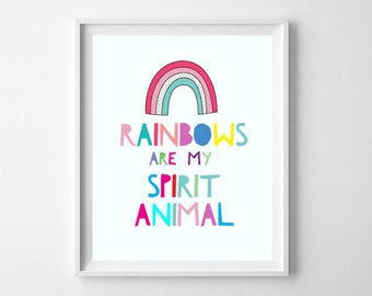 Modern Nursery Rainbow Art PRINTABLE - Kids Room Rainbow Printable - Rainbows Are My Spirit Animal - Rainbow Wall Art - Rainbow Art Print