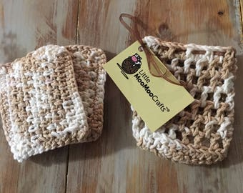 Hazelnut spa set, crochet, bath scrubs, soap holder, mesh bag, spa gift set, bridesmaid gifts, washcloths,