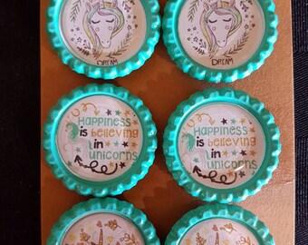 Unicorn bottle cap magnets - set of 6. Dream. Believe. Happiness. Stocking stuffer. Loot bag.