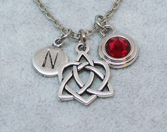 Celtic Triniy heart knot necklace, swarovski birthstone, initial necklace, birthstone necklace, initial charm