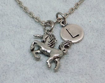 Silver unicorn with Initial necklace, unicorn charm, fantasy, fairy tale