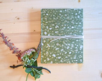 Journal Sketchbook Green Moss Natural with Beige Leather Tie