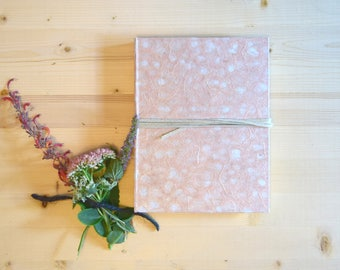 Journal Sketchbook Pink Rose Blush Moss Natural with Beige Leather Tie