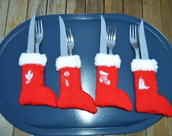 set of 4 pieces covered boots Christmas