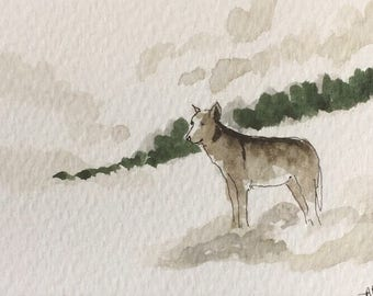 Wolf ORIGINAL Miniature Watercolour ACEO Wildlife, Watercolor, For him, For her, Home Decor, Wall Art, Gift Idea, Free shipping