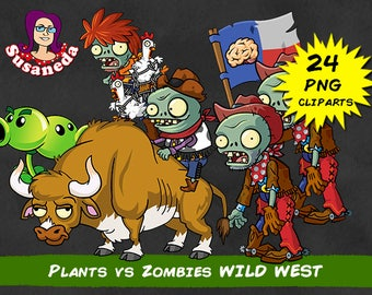 PVZ 2, PLANTS vs ZOMBIES Wild West cliparts, 24 Cliparts Pack, Wild West, transparent background, instant download