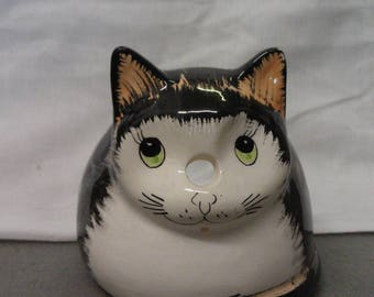 Black and Tan Cat with Beige with Green Eyes Candle Holder