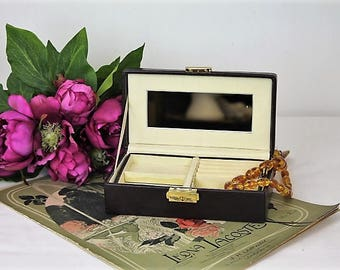 Vintage Leather Jewellery Box/Leather Travelling Jewellery Box/Jewellery Storage (Ref1982K)