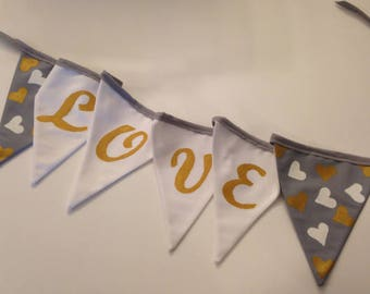 LOVE BUNTING BANNER - valentine bunting banner - (gray-white-gold) - hand painted bunting banner - valentine home decor