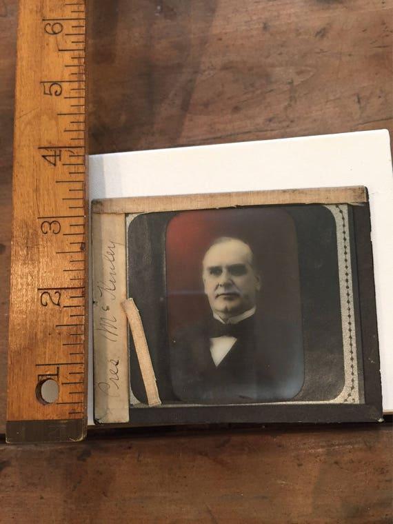 FREE SHIPPING-Antique McKinley-25th U.S. President-Majic Lantern Slide