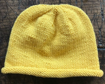 Yellow Rolled-brimmed Beanie // Slightly Slouchy