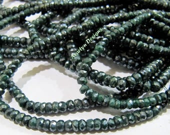 Best Quality Natural Emerald Rondelle Faceted Beads , Mystic AB Coated Emerald Beads 4 to 5 mm , Strand 13 inches , Precious Gemstone Beads.