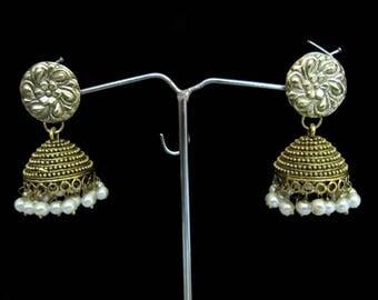 Indian Pearl Earrings , Golden Oxidized Earrings , Traditional Jhumka Jhumki Jewelry , Ethnic Long Drop Chandelier , Unbelievable Prices.