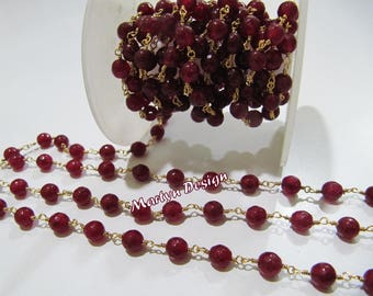AAA Quality Natural Ruby Jade Chalcedony Round Beads , 6mm Rosary Beaded Chain , Faceted Beads Wire Wrapped Chain , Sold Per Foot