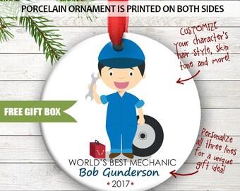 Mechanic Car Repair Repairman Cars Cute Personalized Christmas Holiday Ornament Custom Porcelain Ceramic Occupation Ornament Great Gift Idea