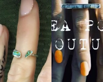 Turquoise Horseshoe Ring + Stone River Ring (Dendritic Agate)