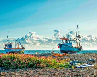 Beach art. Wall art. Fine art photography. Fine art photographic print.Fishing boats Aldeburgh Beach Suffolk. Red valerian wild flowers.