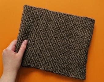 Hand Knit Garter Stitch Snood - Minimalist Infinity Scarf - Brown