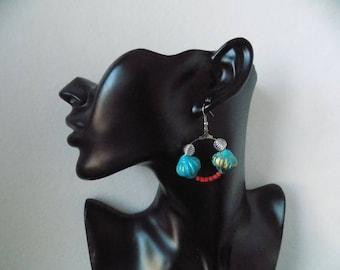 Earring ring large Lantern beads
