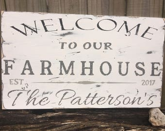 Personalized Welcome  to our Farmhouse Sign/Rustic Welcome Sign/Guest Welcome Sign/Housewarming Gift / Family Name/Established Family Name