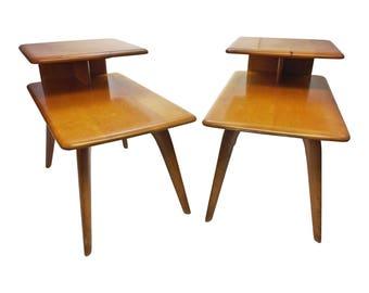 Mid Century Modern HEYWOOD WAKEFIELD Step Table Pair side wishbone wood vintage blonde 50s 60s mcm living room furniture platinum nightstand