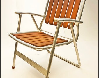 Vintage REDWOOD FOLDING CHAIR Aluminum lawn mid century modern metal wood porch 60s mid century modern outdoor seating metal pool brown
