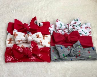 Baby Girl Headband, Christmas, Baby Headwrap, Baby Bows, Baby Turban Headband, Baby Girl Headwrap