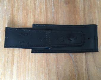 Vintage original Stefanel made in Italy,  Wide Black Saddle Leather Corset Waist Belt