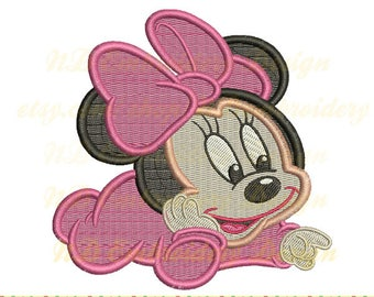 Baby mouse embroidery filled stitch, Minnie Machine Embroidery Design, ms-091-fill