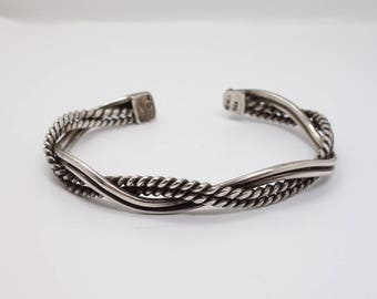Mexican Cuff Bracelet Vintage Taxco Mexico Sterling Silver Twisted Rope Adjustable Bracelet