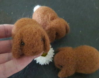Needle felted dwarf lop eared bunny rabbit in caramel brown