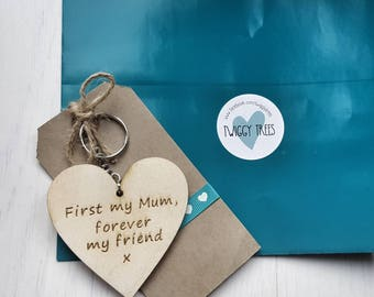 Mum First my Mum Forever my Friend  Engraved Keyring Gift