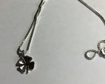 """Sterling Silver Four Leaf Clover Pendant on 20"""" Chain"""