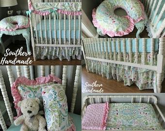 aquapink floral crib bedding