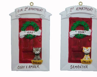 Personalized 1st Apartment Ornament with Cat or Dog - Our 1st Apartment Personalized Ornament - New Home - Our First Home