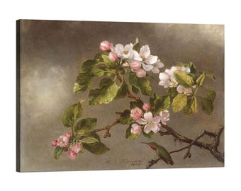 Painting on canvas with wood frame (Framed Canvas) Martin Johnson Heade Hummingbird and Apple Blossoms