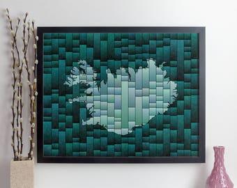 Iceland Map Glasa | a map of Iceland art print | wall map decor | iceland map print | iceland poster | map art print | iceland wall art
