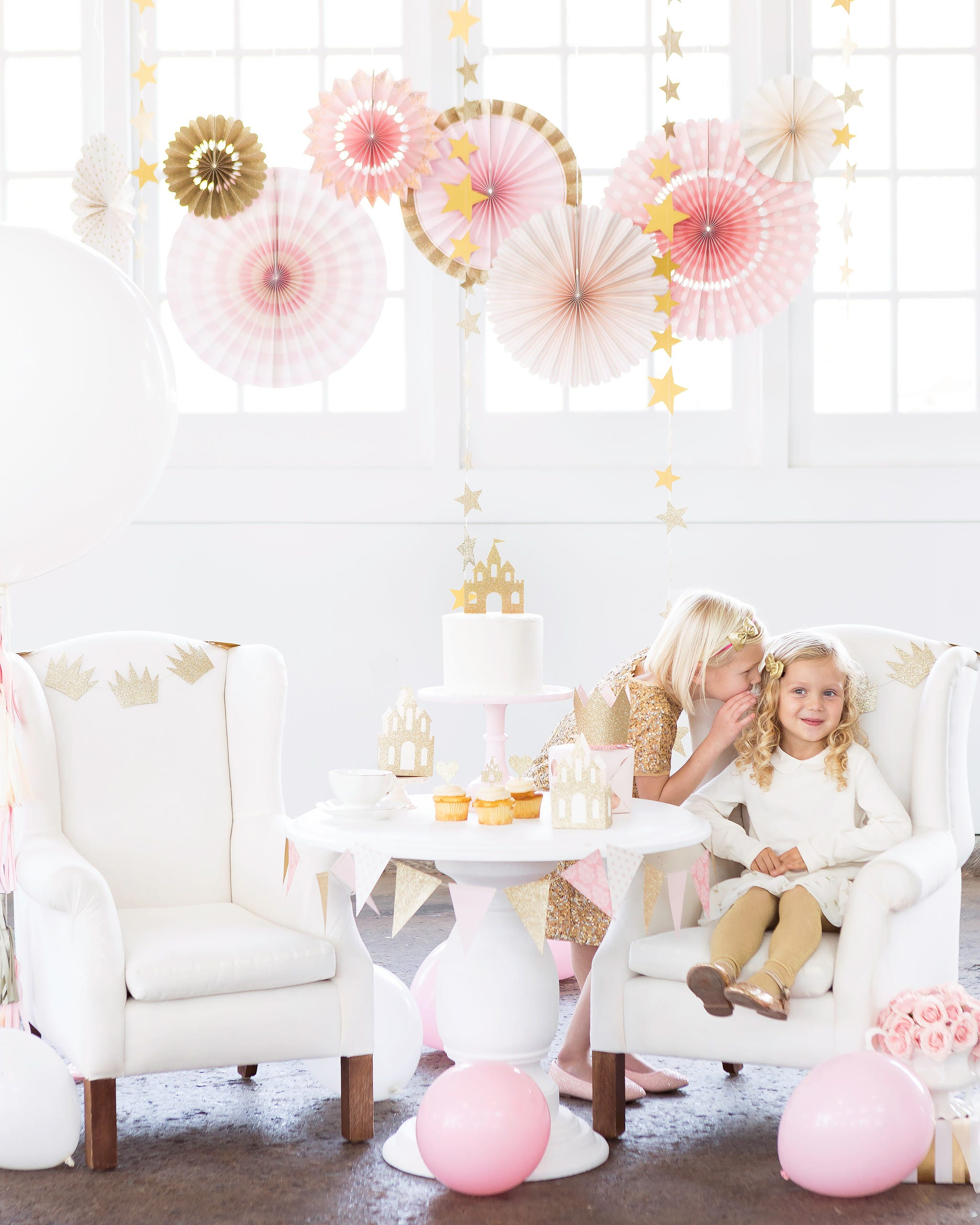 Pink and Gold Paper Fans, Paper Fan Decorations, Party Decorations ...