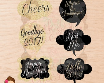 New Year's, New Year's props, New Year's party, New Year's digital props, Digital props, printable props, photo booth props, photo booth