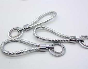 1 Piece Silver Braided Keychain Pu Leather Key Holder Key Hook