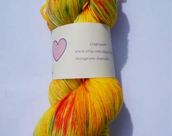 Hand Dyed Yarn - Hand Dyed Sock Yarn - Superwash Merino 'Sherbert Twist'