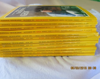 12 National Geographic Magazine Complete Set 1995