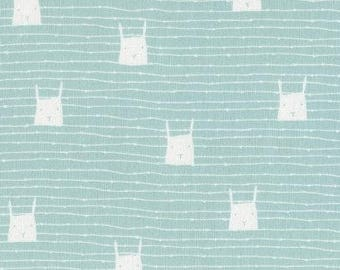 Bunnies Striped - Dress Me for the Playground Bunnies Mint by Wee Gallery for Dear Stella