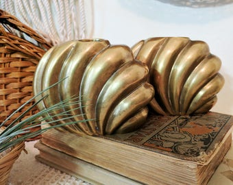 Pair of Vintage Brass Shell Candleholders / Brass Candleholders