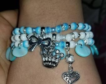 "Blue and white ""girly"" bracelet."